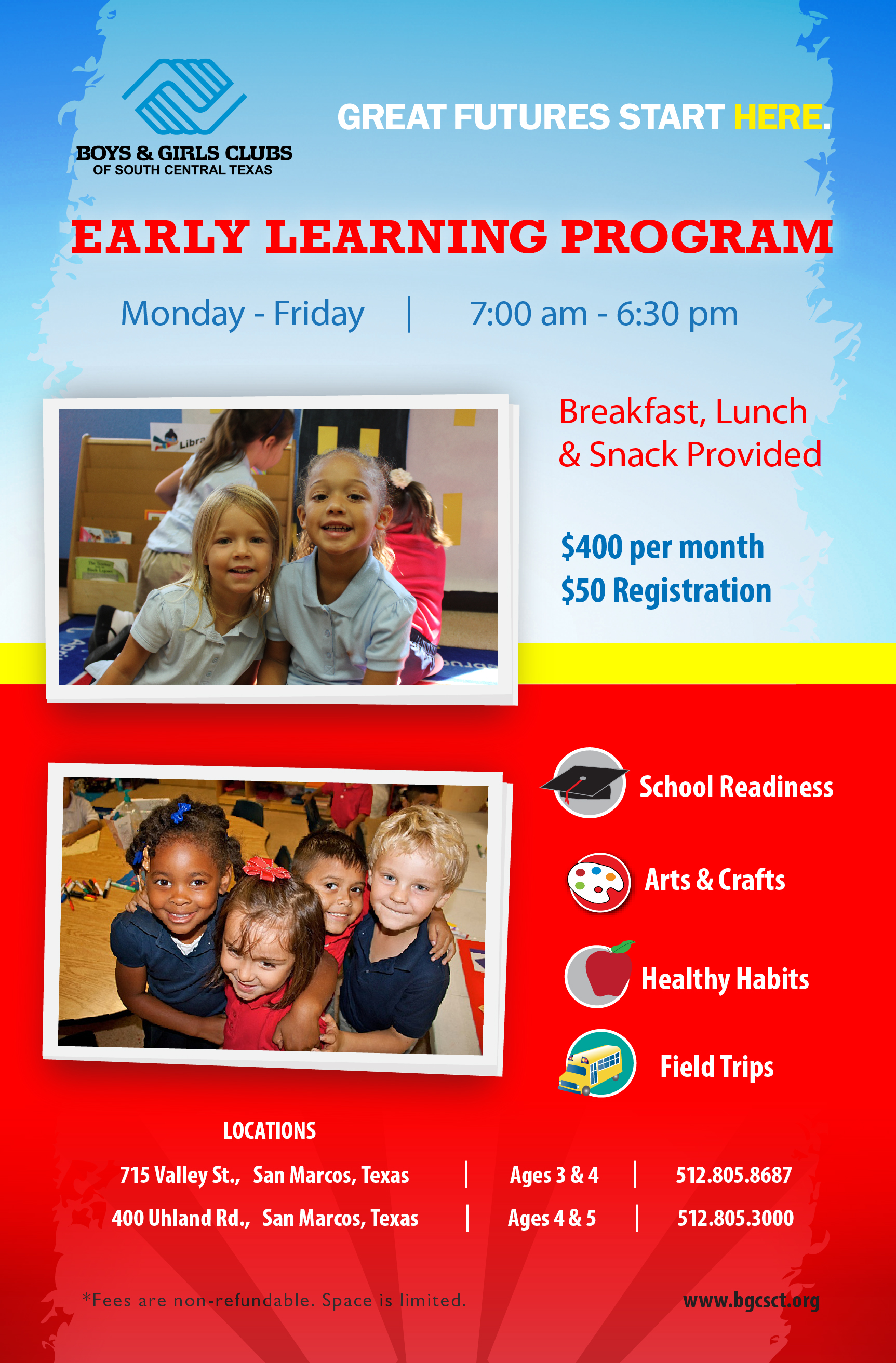 Boys and girls clubs of south central texas early learning program flyer